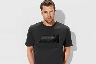 BMW M Herren T-Shirt anthrazit mit Carbon Applikation