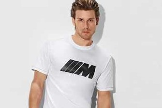 BMW M Herren T-Shirt weiß mit Carbon Applikation